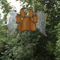 Stained Glass Paw Print with Wings Suncatcher Ornament
