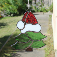 Stained Glass Christmas Tree with Santa Claus Hat Suncatcher