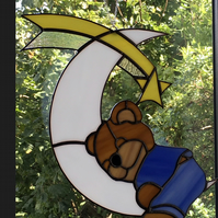 Stained Glass baby bear sleeping on the moon suncatcher Baby shower