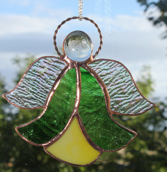 Stained Glass Bluebell Angel Suncatcher Green and Yellow