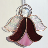 Stained Glass Bluebell Angel Suncatcher Purple and Pink