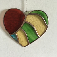 Stained Glass Colourful Heart Suncatcher