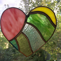 Stained Glass Colourful Heart Suncatcher Pink