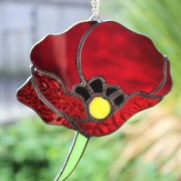 Stained Glass Poppy Suncatcher