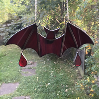 Stained Glass Halloween Purple Bat Suncatcher