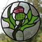 Stained Glass Scottish Thistle Round Suncatcher Made to Order Commisioned