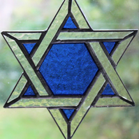 Stained Glass Star of David Suncatcher Blue
