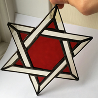 Stained Glass Star of David Suncatcher Red