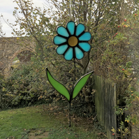 Stained Glass Blue Daisy Flower Suncatcher Plant Pot Decoration