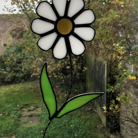 Stained Glass White Daisy Flower Suncatcher Plant Pot Decoration