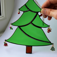 Stained Glass Christmas Tree with Christmas Charms Suncatcher Decoration