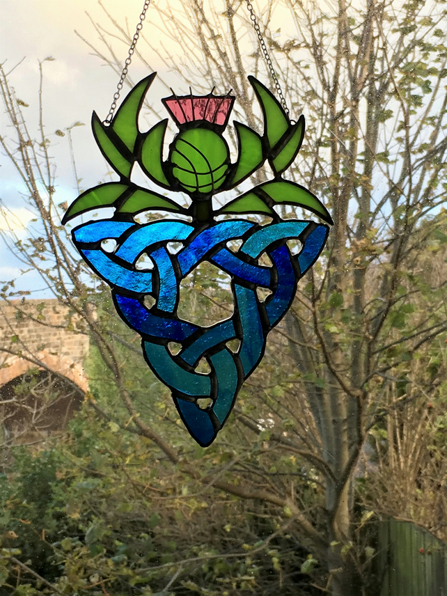 Scottish Thistle with Celtic Knot Stained Glass Suncatcher Made to Order