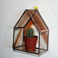 Stained Glass Mini Plant Holder, Battery Night Light Sconce