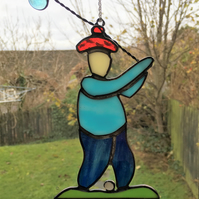 Stained Glass Golfer Suncatcher