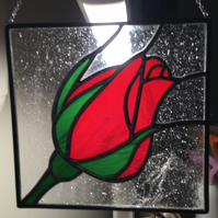Stained glass Red rose panel suncatcher