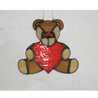 Stained Glass Teddy Bear with Heart Suncatcher