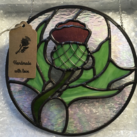 Scottish Thistle - Stained Glass Suncatcher Made to order