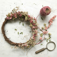 Stunning pale pink and green handmade floral wreath