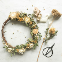 A Natural Dried Flower Wreath in soft, gentle tones