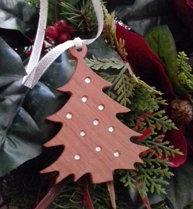 Solid hardwood Christmas tree decoration with inset rhinestones