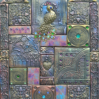 Medieval peacock mixed media mosaic on slate