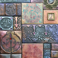Celtic mixed media mosaic, polymer clay mosaic on slate