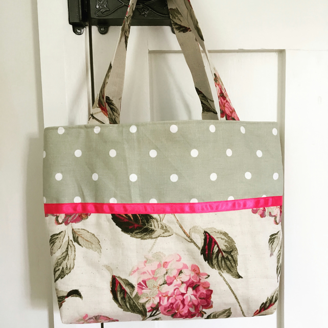 Laura Ashley linen tote bag