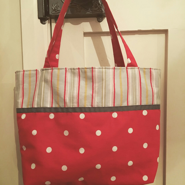 Reversible polka dot, stripe and floral tote bag