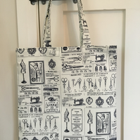 Vintage adverts fabric bag