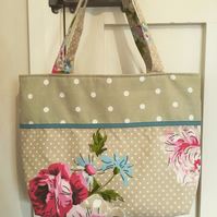 Floral and polka dot fabric bag