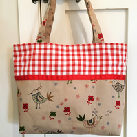 Birds and flowers fabric bag