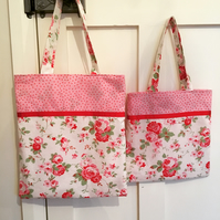Matching floral fabric bags