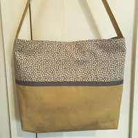 Grey and gold fabric shoulder bag