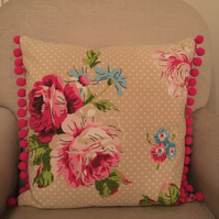 Floral and Pom Pom cushion cover