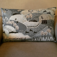 Country scene cushion cover