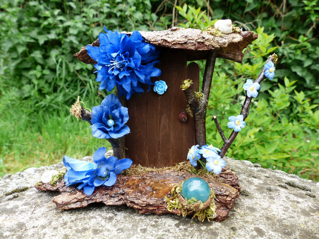 Blue Fairy Door - Fairy Garden, Fairy House, Fairy Furniture, Dollshouse