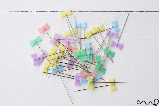 40 x Bow Sewing Pin Pastel Colour Patchwork DIY Quilting Tool Sewing Accessories