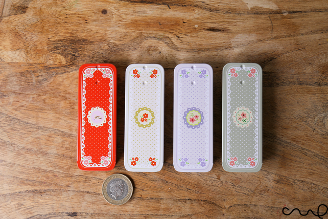A Set of 4 Small Rectangular Metal Tin Floral Spotty Sliding-Lid Trinket