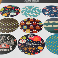 9 Unique English Pattern Round Stickers for Scrapbooking Gift Wrapping Packaing
