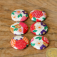 6 x Japanese Patterns Floral Red White Flat Back Buttons 40L 25mm Handmade