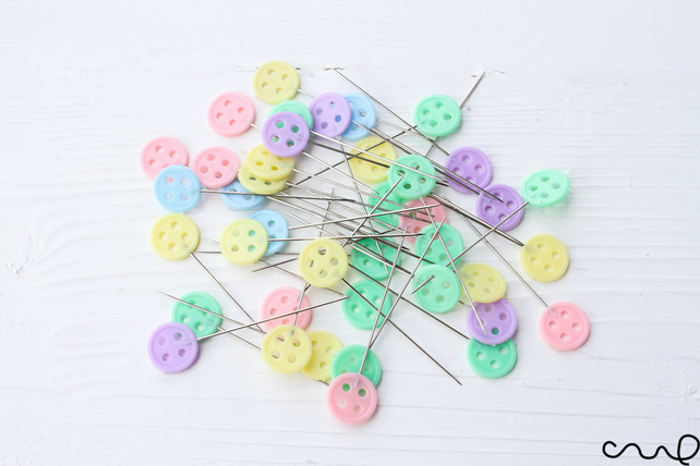 40 x Button Head Sewing Pin Pastel Patchwork DIY Quilt Tool Sewing Accessories