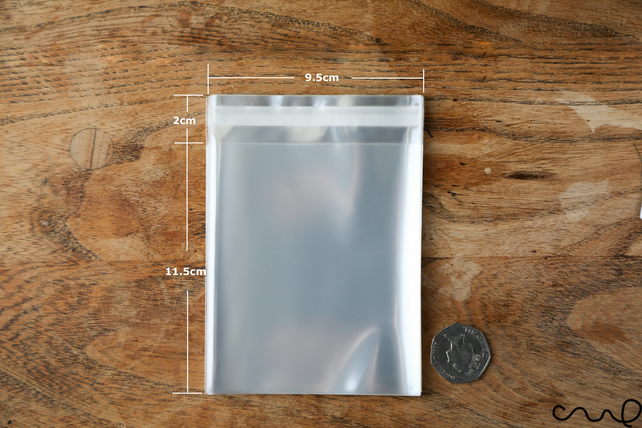 100 Square Cellophane OPP Bag with Self Adhesive Flip 9 x 14 cm Clear Plastic