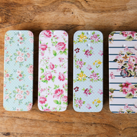 4 set of Small Floral Metal Tin Sliding-Lid Trinket Rectangular