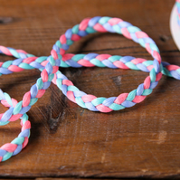 Braided Trim Ribbon Pink Mint Blue Ribbon 10 M Decorative Sewing Craft 7mm Wide