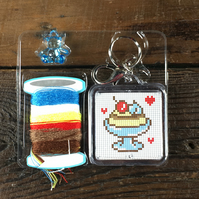 Blue Ice-cream with cute Teddy Counted Cross Stitch Kit Gift Craft Key Fob DIY