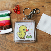 Yellow Duckling with cute Teddy Counted Cross Stitch Kit Gift Craft Key Fob DIY