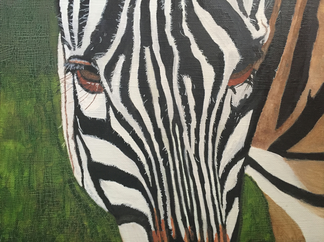 Zebra Close Up original acrylic painting canvas