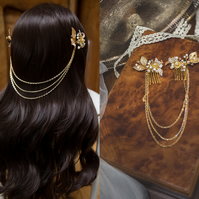 G005 Hair jewellery, Pearl hair combs with golden chains
