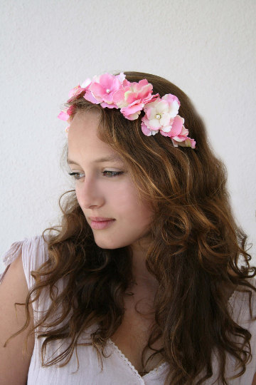 Floral Vine Crown in Pink and Cream