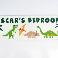 Personalised Dinosaur Bedroom Door Plaque